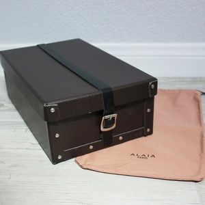 Alaia Leather Buckle Strap Shoe Box with Dustbag
